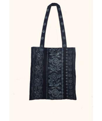Blaudruck Schulter Einkaufstasche mit Bordüren B4-P2401