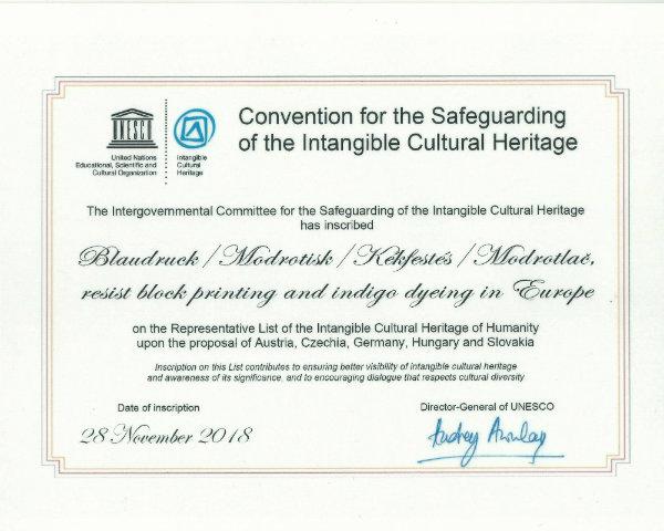 UNESCO Zertifikat 2018